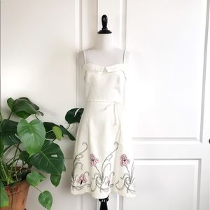 90s Laundry Floral Embroidered A Line Dress